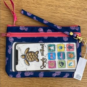 NWT Simply Southern Wristlet  - Navy Blue & Pink
